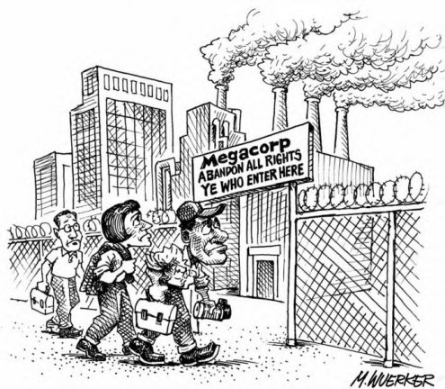 abandon rights at corporate gate cartoon