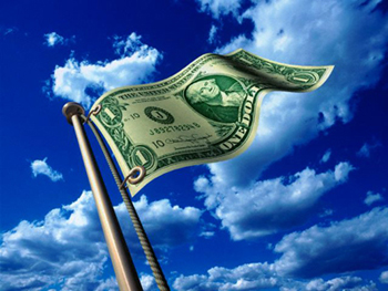 Dollar Flying on Flagpole