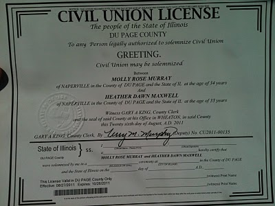 civil union certificate
