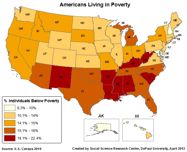 Red America Vs Blue America State Maps Illustrate The Difference - Us map of deep poverty