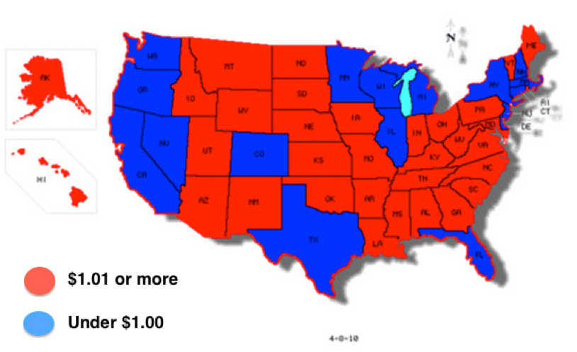 Red America Vs Blue America State Maps Illustrate The Difference - Us state map net federal taxes
