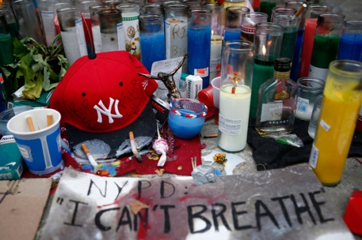 Candles are seen at the memorial of Garner in Staten Island
